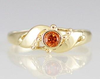 Spessartite Garnet 14K Beaded Vintage Style Ring