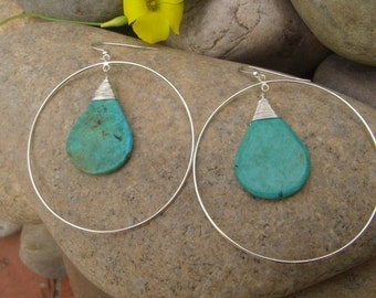 Large Hoop Earrings - Turquoise Earrings - Statement earrings - Sterling Silver Hoops -  Large Dangle Earrings -  December Birthstone