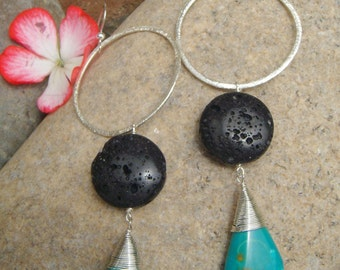 Lava Rock & Turquoise Earrings - Hammered Silver Hoop Dangle Earrings- Natural Essential Oil Diffuser - Lava Turquoise Teardrops - Large