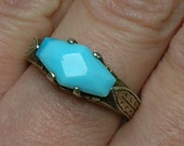 Edwardian Silver Ring, Turquoise Glass Stone, Unisex or Men, Hand Engraved