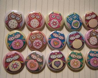 15 Cute Hoot Owl craft Flat Back Buttons