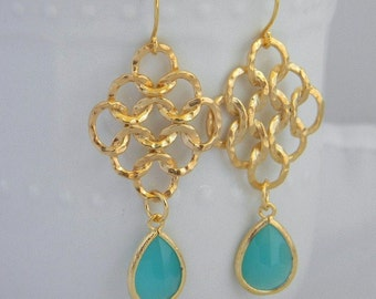 Gold Statement Earrings with Turquoise Jewels- Large Gold Dangle Statement Earrings-Gold Love Knot Earrings- Geometric Statement Earrings