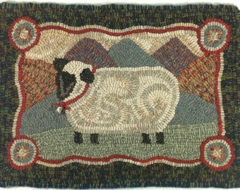 """Rug Hooking Pattern, Sheep In The Hills, 12"""" x 18"""", J718"""