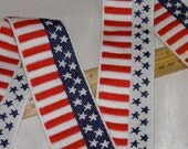 1 Yard Reversible Trim Patriotic Red White Blue  - American Flag