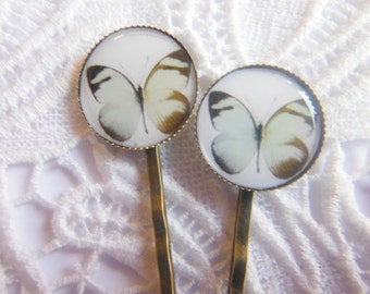 White Moth Clips Bobby Pins.