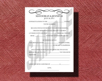 Elegant Wedding Mad Libs A Fun Guest Book Alternative Wedding Ad Libs