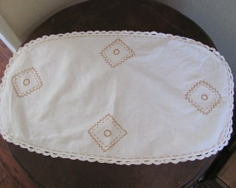 "Antique Embroidered Table Runner Dresser Scarf Doily - 13"" x 22"""