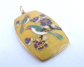 Vintage Yellow Cloisonne Pendant Green Bird Purple Flowers Gold Tone Enamel Necklace Cloissonne Green Bird Chinese Asian Cloissone Jewelry