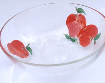 Vintage Strawberry Glass Clear Bowl Cereal Candy Nut Chocolate Deep Dish Red Berry Serving Decorative Painted Fruit Summer Kitchen Kawaii