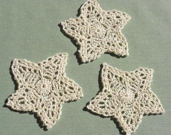 3 Crocheted Stars in Cream