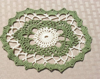 Crocheted Doily in Olive Green & Cream