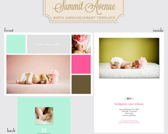 Color Block Modern Boy or Girl birth announcment template for professional Photographers