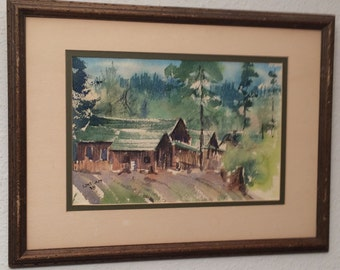 Vintage Original Signed Watercolor Painting by LOVELACE 1978 Framed 70's a