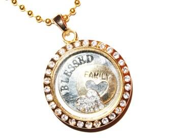 Floating locket, gold memory locket, silver glass locket, locket necklace, personalized locket, Personalized Memory Locket