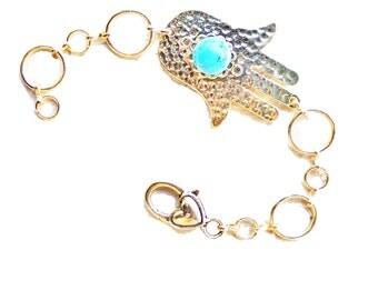 Hamsa bracelet, Hamsa charm bracelet, Evil eye bracelet