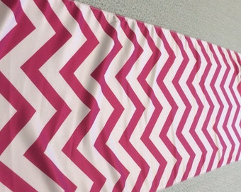 Hot Pink and  White Chevron Table Runner 90   x 16 Matte Satin