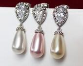 Crystal Pearl Drop Wedding Earrings, Rhinestone Pearl Drop Bridal Earrings, Bridesmaid Earrings, Mother of the Bride, Bridal Accessories