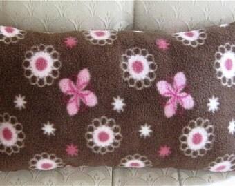 Brown Flowers Fleece Travel Neck Pillow