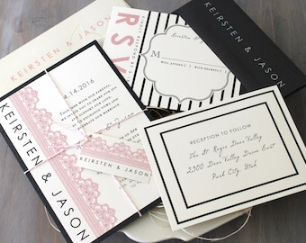 "Modern Wedding Invitations, Pink Wedding Invitations, Black and White Wedding Invitations, Lace Invitations - ""Modern Lace"" Deposit"