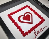 Unique Paper Quilling Red Roses and Heart Wall Art for Valentine's Day  Anniversary , Framed art with  Heart and paper quilling roses