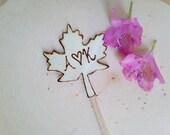Wooden maple leaf, cake topper, Fall wedding, Custom Rustic, Shabby Chic Woodland Wedding Sign personalized