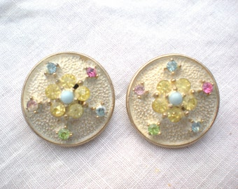 Now on Sale, 1950s Pastel Rhinestone Flower Earrings