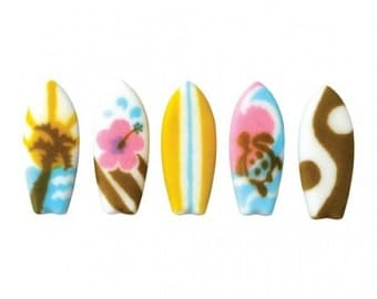 Surfboard Sugar Pieces / Edible / Cupcake Toppers / Cake / Decorations / Beach / Teen Beach