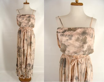 BLOOD OPTIONAL. Zombie Costume. vintage 70s Peach Tube Dress. Disco Zombie Dress. Womens Zombie Halloween Costume. Dystopian Dress. S M