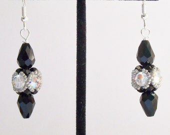 Handmade Dangle Earrings Black and Clear Swarovski Crystals Bride Bridesmaids Wedding Jewelry Jewellry Gift Guide Women