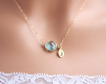 Personalized light blue stone  and leaf  in Gold , wedding gift , mothers day, birthday gift, friendship gift, for her, mom, daughter sister