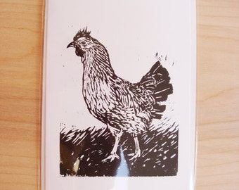 Chicken Blank Greeting Card Black