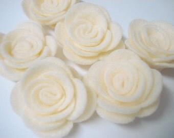 Set of 20pcs handmade felt rose flower - cream (RO)