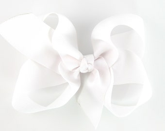 6 Inch Hair Bow Extra Large White 6 Inch Bows School Uniform - Solid Color Boutique Hair Bow on Alligator Clip or French Barrette