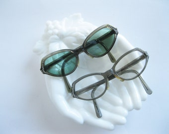Swank France Cats Eye Bifocal Sunglasses Rhinestones Art Deco