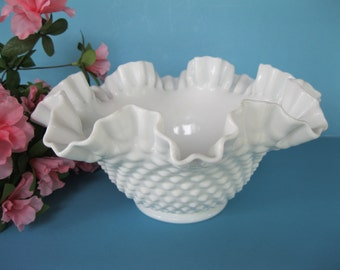 Fenton Milk Glass Bowl Hobnail Vintage