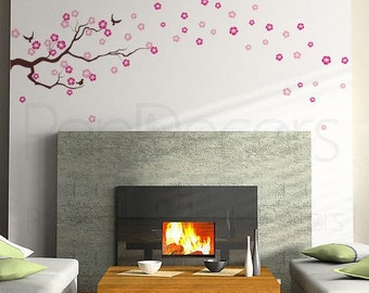 "Floral Wall Decal Flowers Vinyl Wall Sticker Flower Pink Mural Wall Art - Drifting Cherry Blossom(86""W) - Free Squegee - by Popdecors"