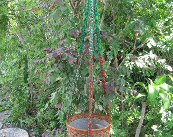 Red Green White 52 Inch No Beads Macrame Plant Hanger