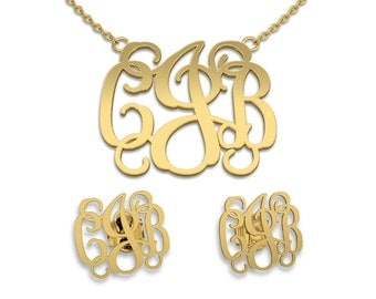 Necklace and Earring sets Monogram Necklace Monogram Name Jewelry, bridesmaid earrings, bridesmaid necklace-14K gold necklace