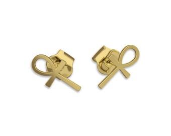 ANKH Cross Earrings -14k gold earrings, post Earring, key of life, the key of the Nile or crux ansata ankh symbol egyptian ankh jewelry