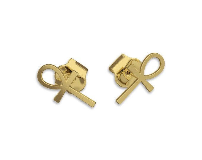 ANKH Cross Earrings -14k gold earrings, post Earring, key of life, the key of the Nile or crux ansata
