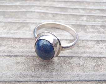 Vintage Lapis Lazuli and Sterling Silver Ring Handcrafted 1970s Jewelry - Sweet and Simple - Size 6-1/4