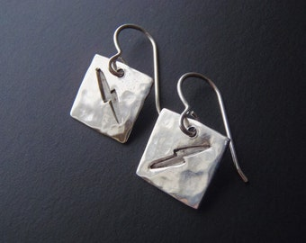 Sterling Silver Earrings Lightning Bolts or Sparks: Hammered Surface Stamped Symbols Pierced Wires New Handcrafted Jewelry Lively Dangles