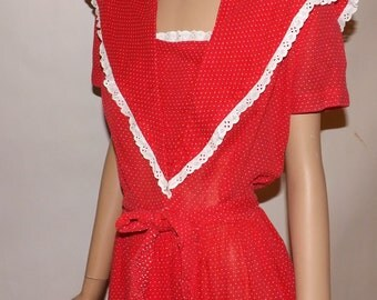 Vintage 1940s 1950s Dress. Red Dotted Swiss. Near Sheer. Day Dress. Swing Dress. Medium.