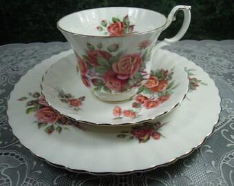 Royal Albert Centennial Rose Teacup & Plate - Royal Albert Teacup and Plate - Royal Albert - Centennial Rose Teacup - Royal Albert China