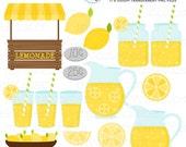 Lemonade Stand Clipart Set - clip art set of lemonade, lemonade stand, drinks, lemon - personal use, small commercial use, instant download