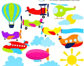 Air Transport Clipart Set - clip art set of air transport, transportation, planes - personal use, small commercial use, instant download
