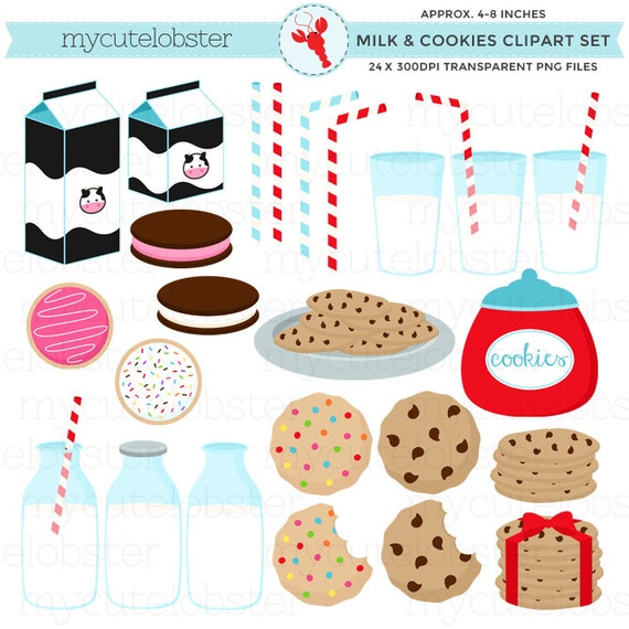 Milk & Cookies Clipart Set - clip art set of cookies, milk bottles, milk, straws - personal use, small commercial use, instant download