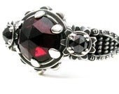 Blood Red Garnet and Black Diamond Steampunk Gear Ring - Coils and Rivets and Gears - Sterling Silver