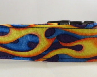 Dog Collar, Martingale Collar, Cat Collar - All Sizes  - Flames