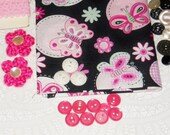 Crafting Kit - Butterfly Fabric - Vintage Buttons - Black And Pink - Inspiration Kit